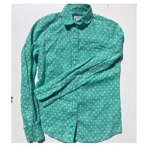 100% linen mint green polka dot j crew button down